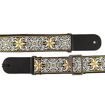 Correa para guitarra clásica/acústica/de peluche/eléctrica diseño estampado - cuero y algodón, Black Pattern/Tribal: Amazon.es: Instrumentos musicales