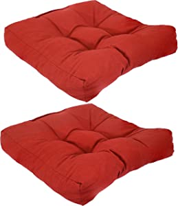 Sunnydaze Set of 2 Tufted Square Patio Cushions for Indoor/Outdoor Furniture - Replacement Cushions for Chairs and Seating - Olefin Seat Pads for Porch, Deck, and Garden Seats - Red