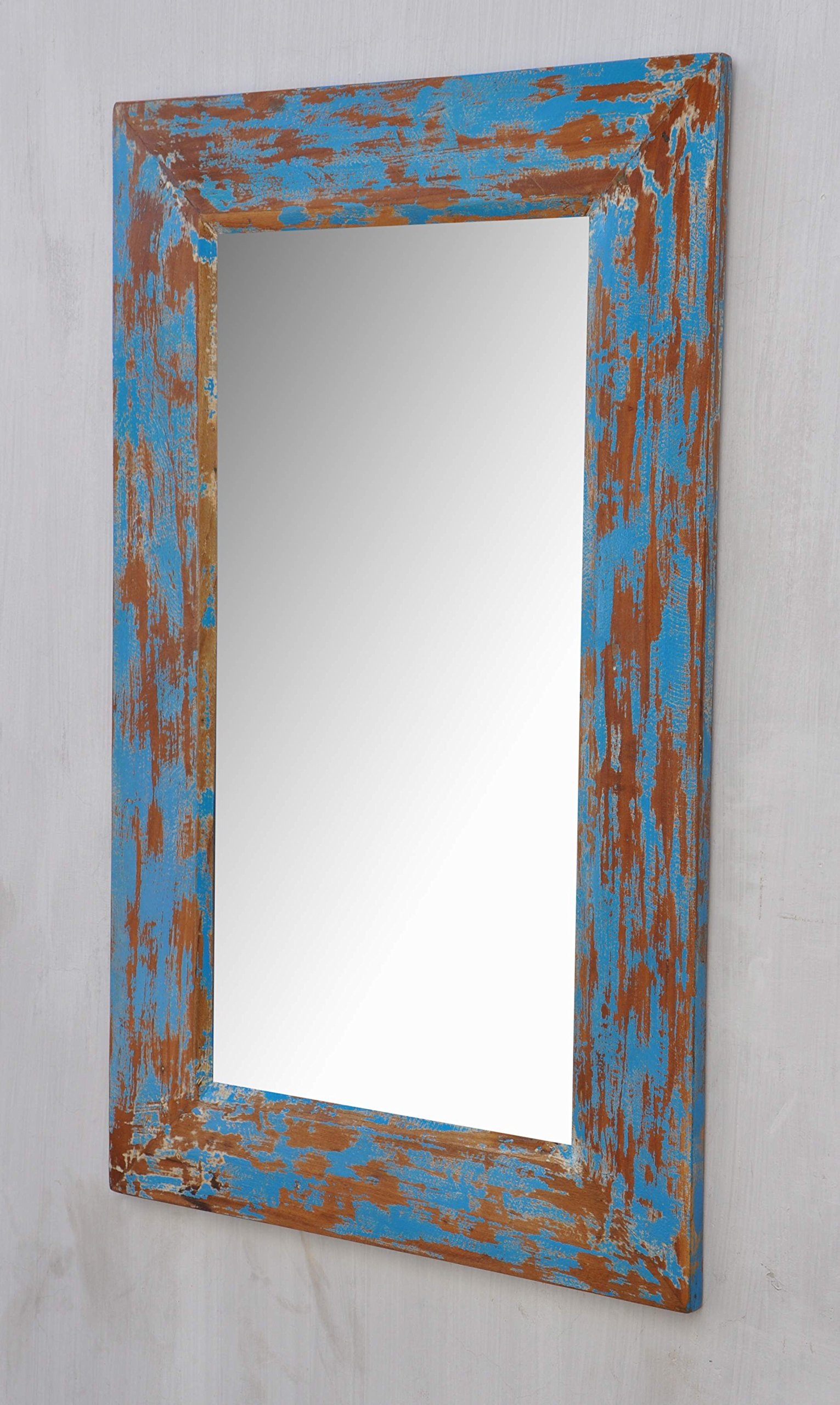 Antique Rustic Wood Mirror Frame Turquoise Colour Style ...
