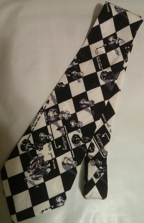 Nicole Miller Chess Necktie: Black & White Chess Pattern 2015112904
