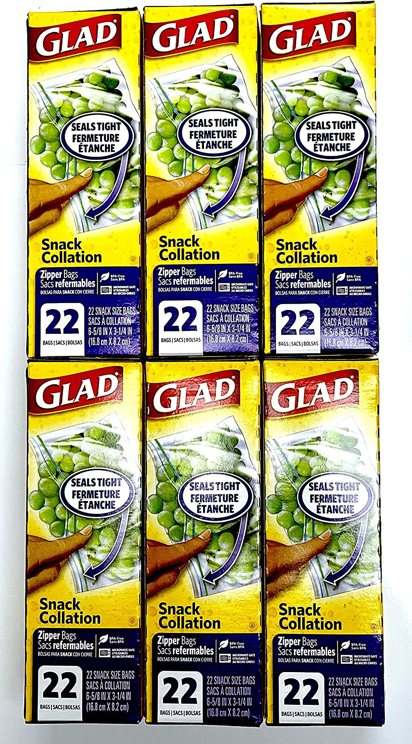 Glad Zipper Food Storage Snack Bags - 22 Count   Pack of 6   132 Bags