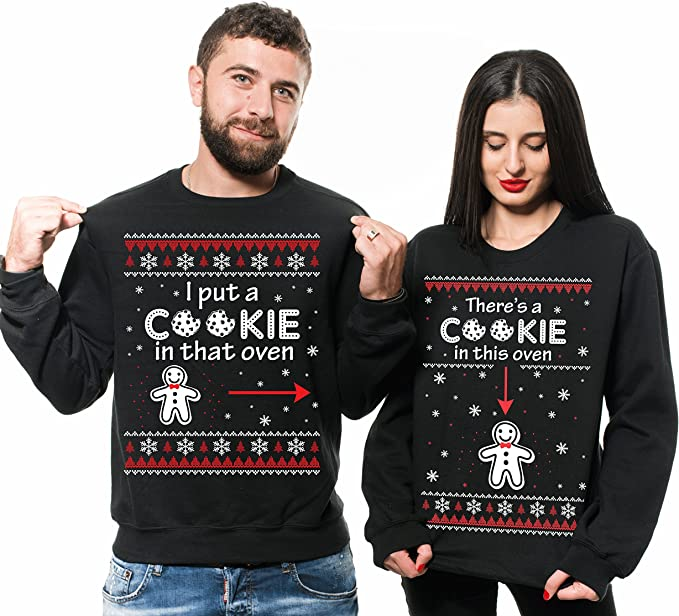 There/'s a cookie in the oven Christmas pregnancy reveal black t-shirts set.