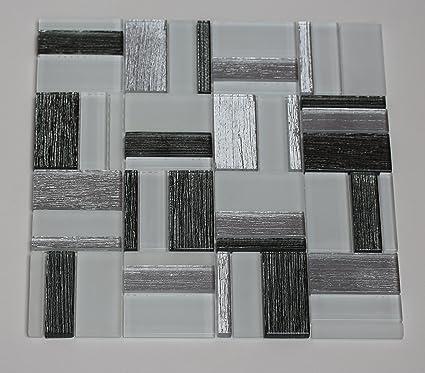 Azulejos de mosaico 30 x 30 cm azulejos color blanco gris plata ...