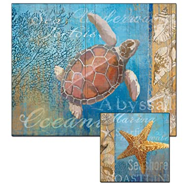 CounterArt Beneath The Sea Glass Cutting Board and Trivet Set