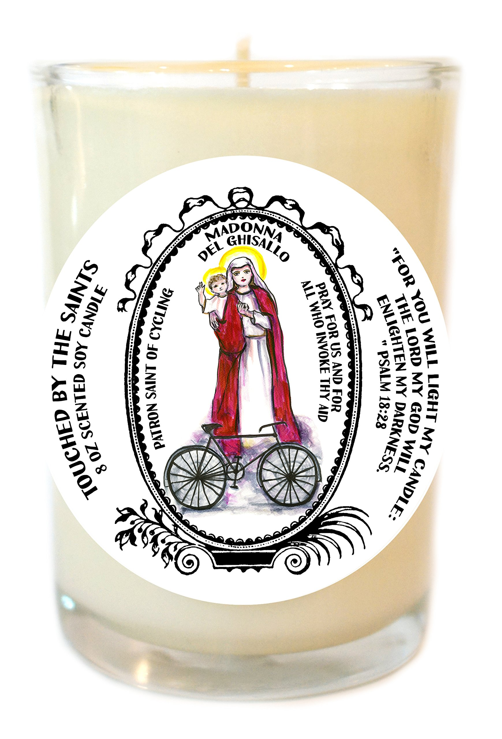 Madonna Del Ghisallo Patron of Cycling 8 Oz Scented Soy Glass Prayer Candle