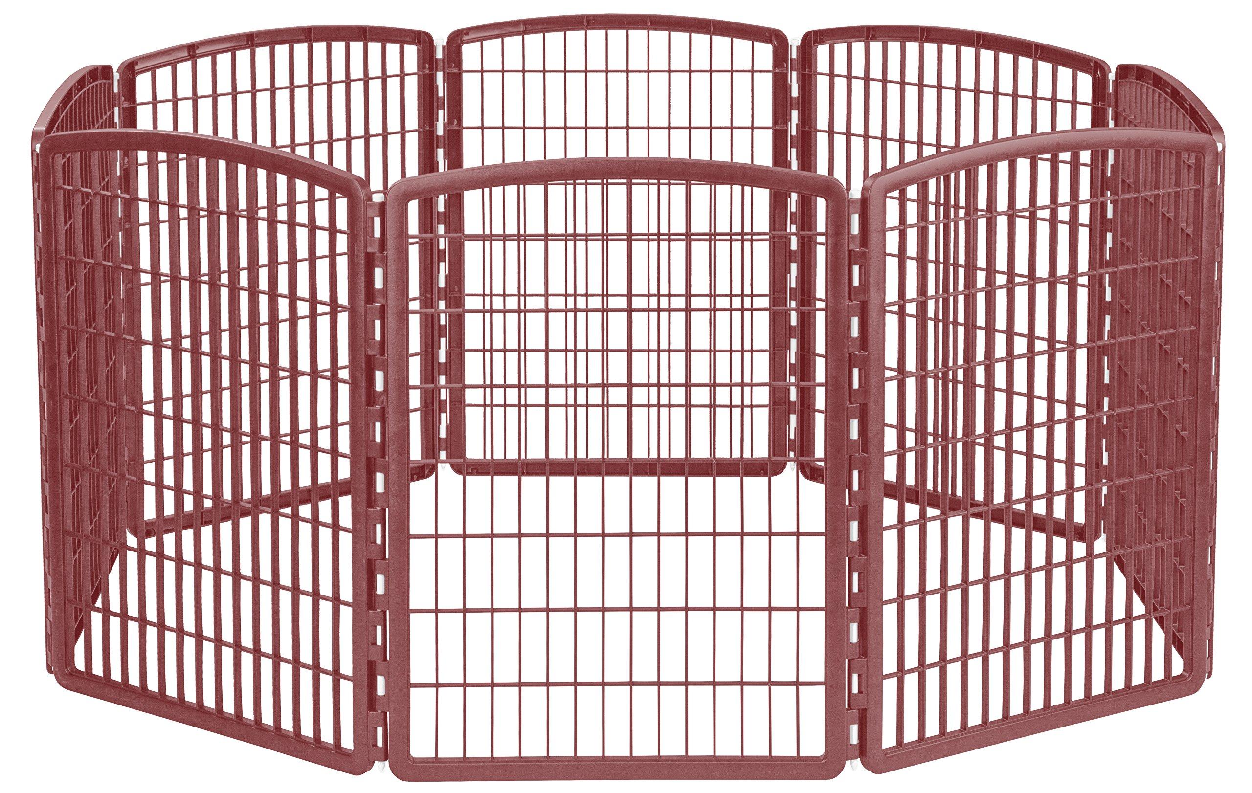 IRIS 34'' Exercise 8-Panel Pet Playpen without Door, Brown