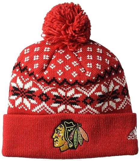 a3bd17f10bc Amazon.com   adidas NHL Chicago Blackhawks Cuffed Knit Pom Hat