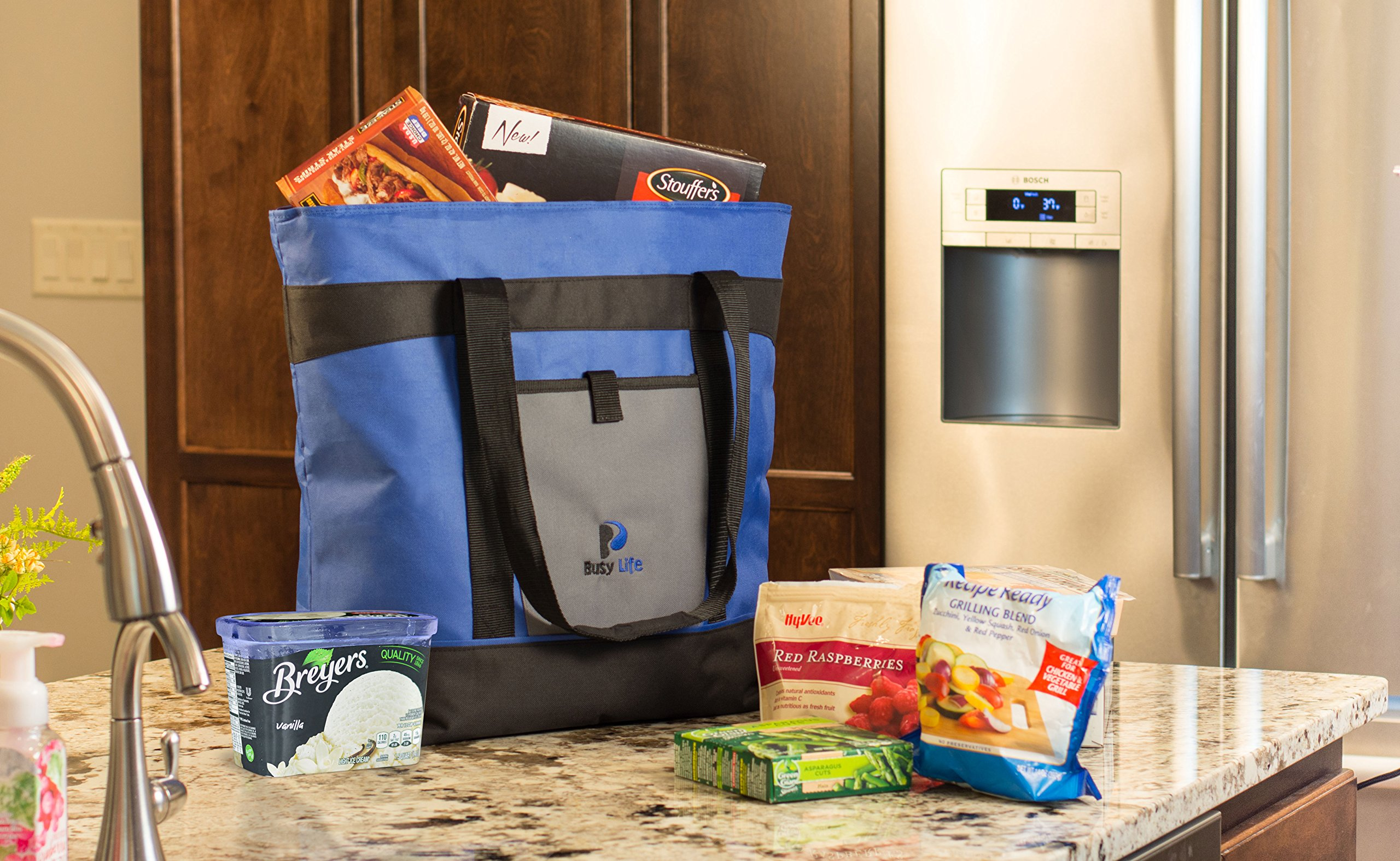 Insulated Cooler Bag Gift Pack. Busy Life Insulated Grocery Tote Perfect for Hot and Cold Food. Large 10 Gallon Capacity - Never Bring Home Melted Ice Cream Again. (4 Units) by Busy Life (Image #2)