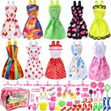 Total 66pcs - 10 Pack Clothes Party Gown Outfits for barbie dolls+ 55pcs Dolls Accessories Shoes Bags Necklace Mirror Hanger Tableware