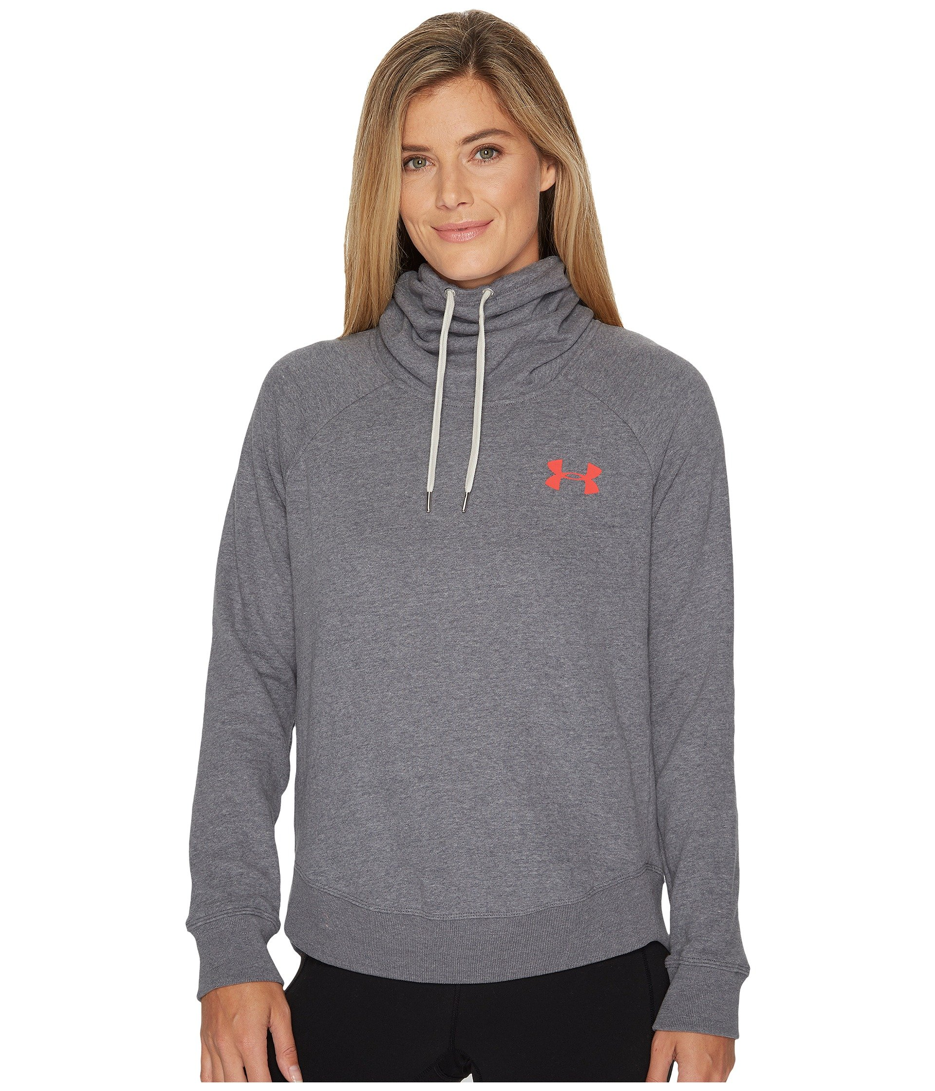 Under Armour Women's Novelty Favorite Pull Over Left Chest Jacket, Carbon Heather /Marathon Red, Large