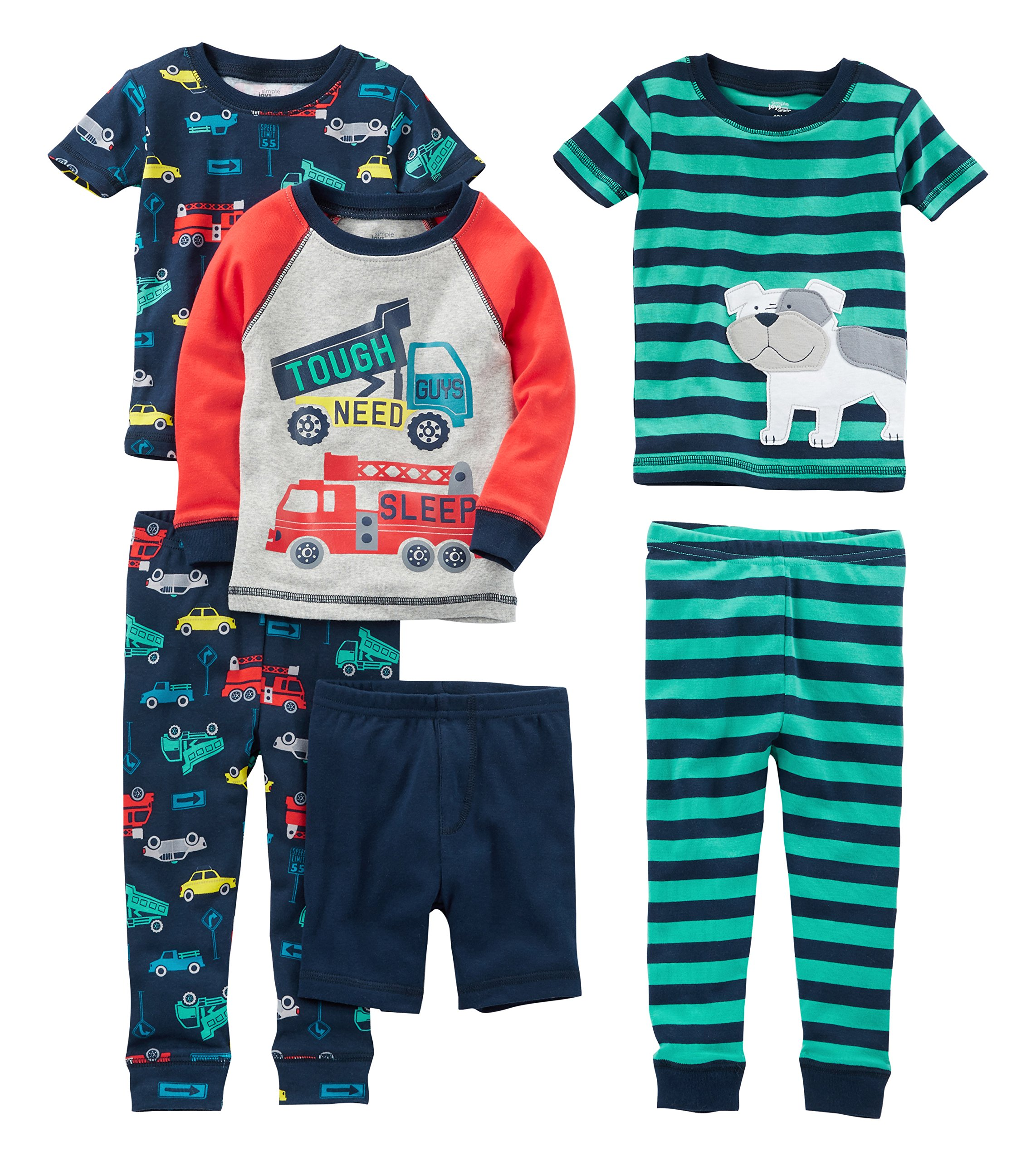 Simple Joys by Carter's Baby Boys' Toddler 6-Piece Snug Fit Cotton Pajama Set, Transportation/Dog, 3T