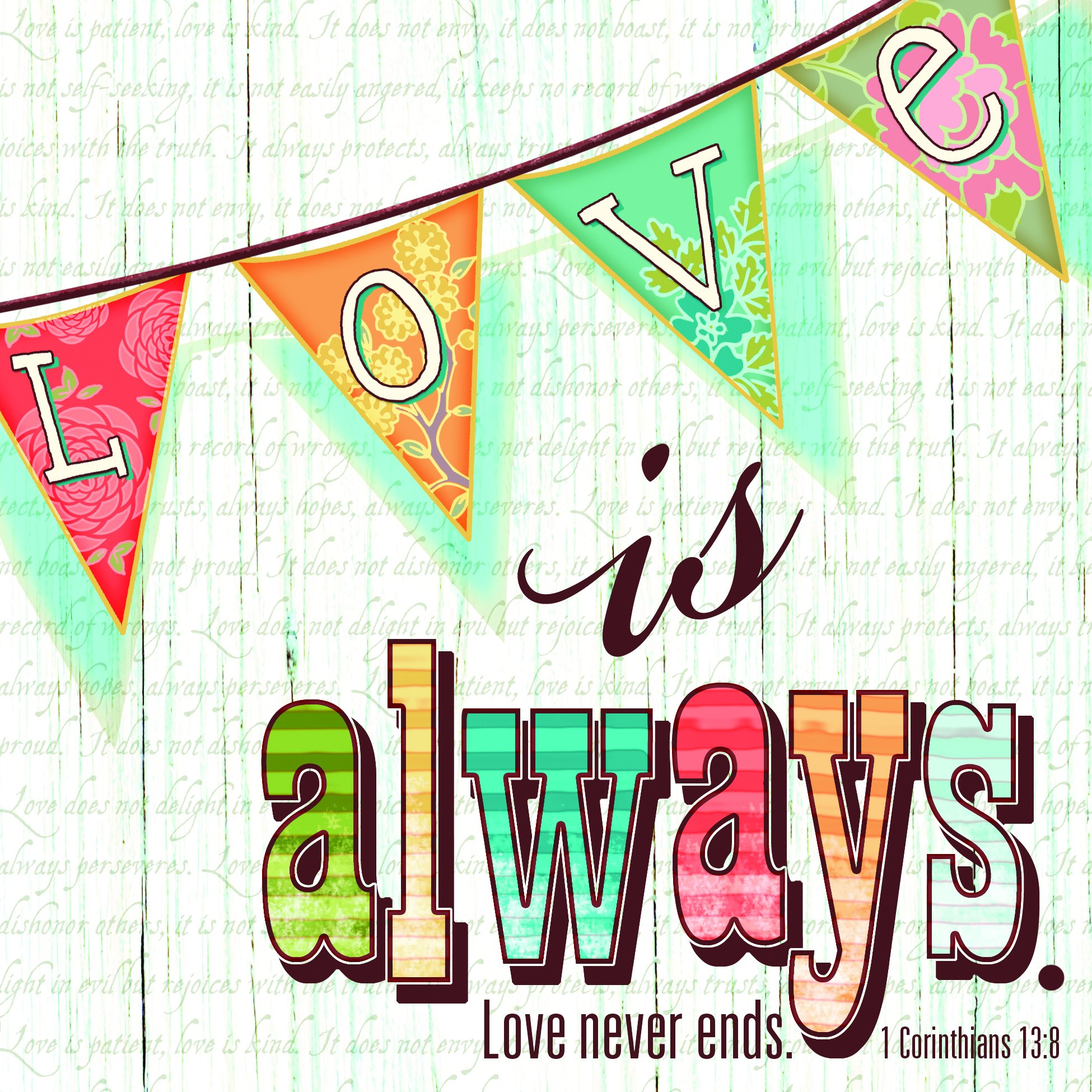 Love Always Never Ends Wood Look 20 Count 3-Ply Paper Luncheon Napkins Pack of 2 by Divinity Boutique