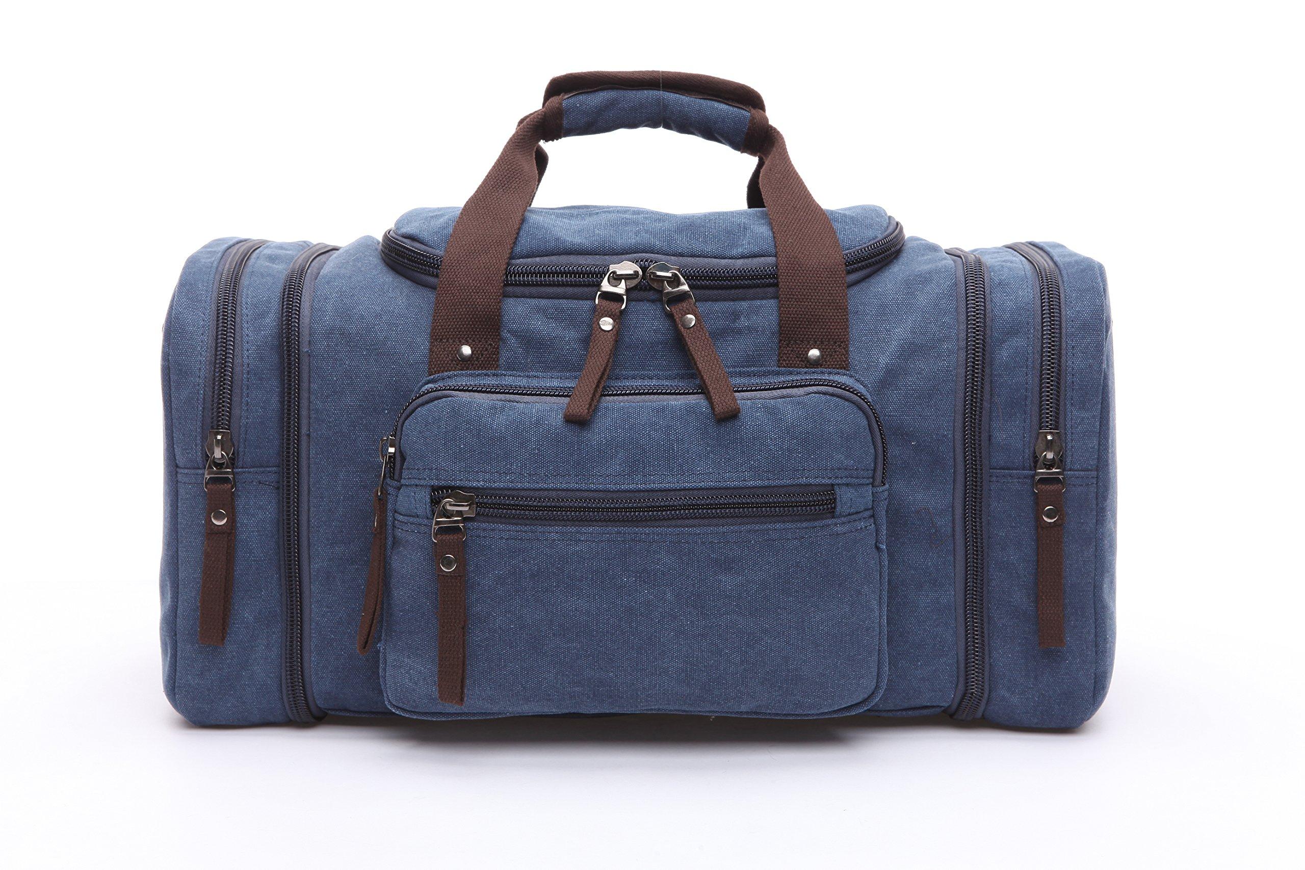 FengJu Vintage Large Canvas Travel Duffel Bag SportsDuffels Oversized blue