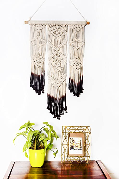 Office Living Room Bedroom Nursery Craft Decorations Folkulture FMWH04 Macrame Wall Hanging Brown Woven Large Tapestry Handmade Bohemian Home Decor Boho Chic Apartment Studio or Dorm Decorative Interior Wall Art