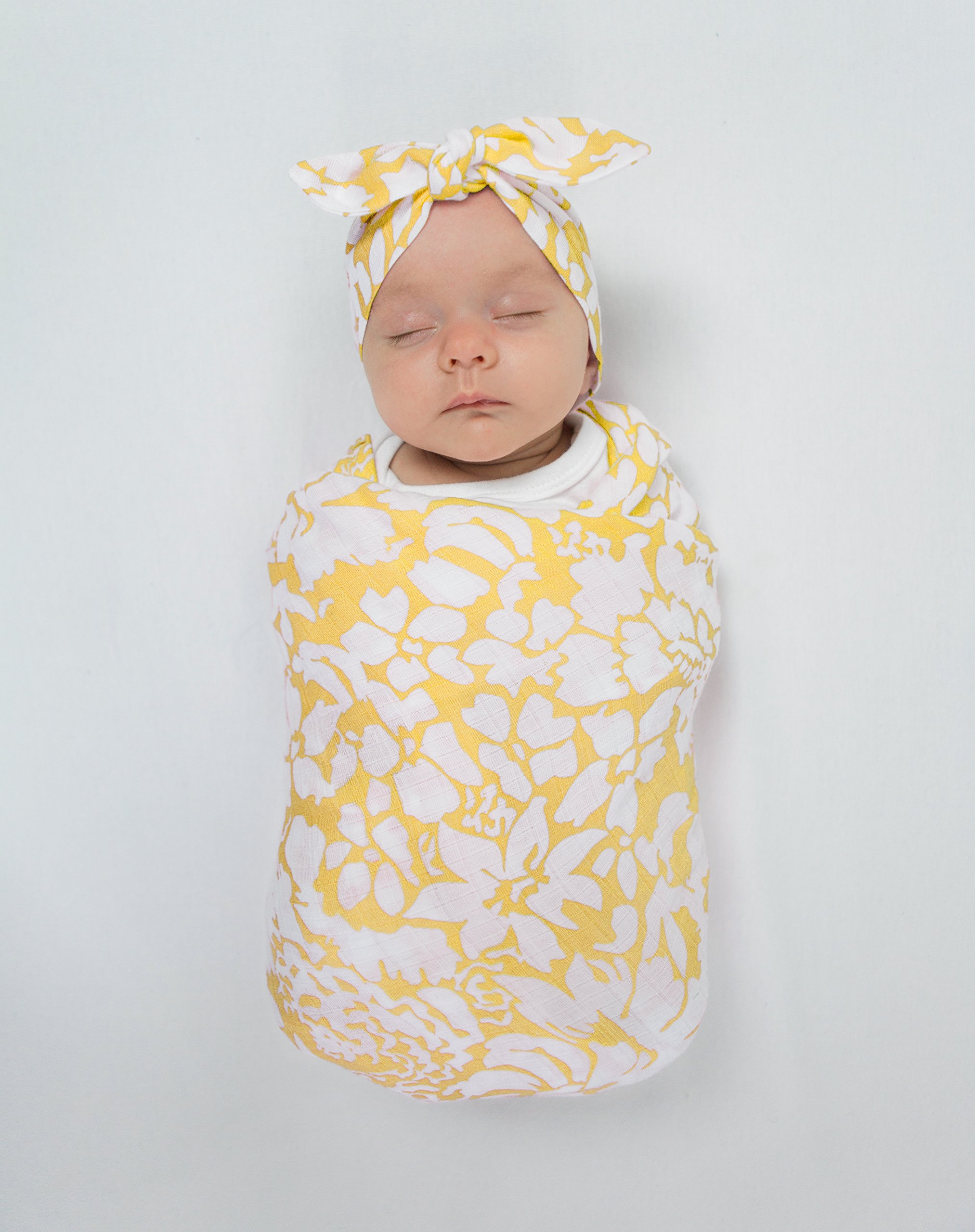 SwaddleDesigns Marquisette Swaddling Blanket, Premium Cotton Muslin, Yellow Lush by SwaddleDesigns