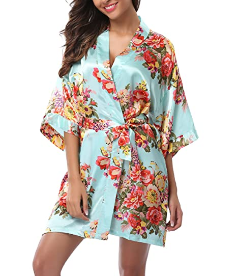 exox Women s Floral Robe Short Satin Kimono Bathrobe Silk Bridal Robe  Wedding d32836144