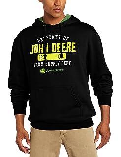 John Deere Mens Property Off Logo Core Hood Pull Over Fleece