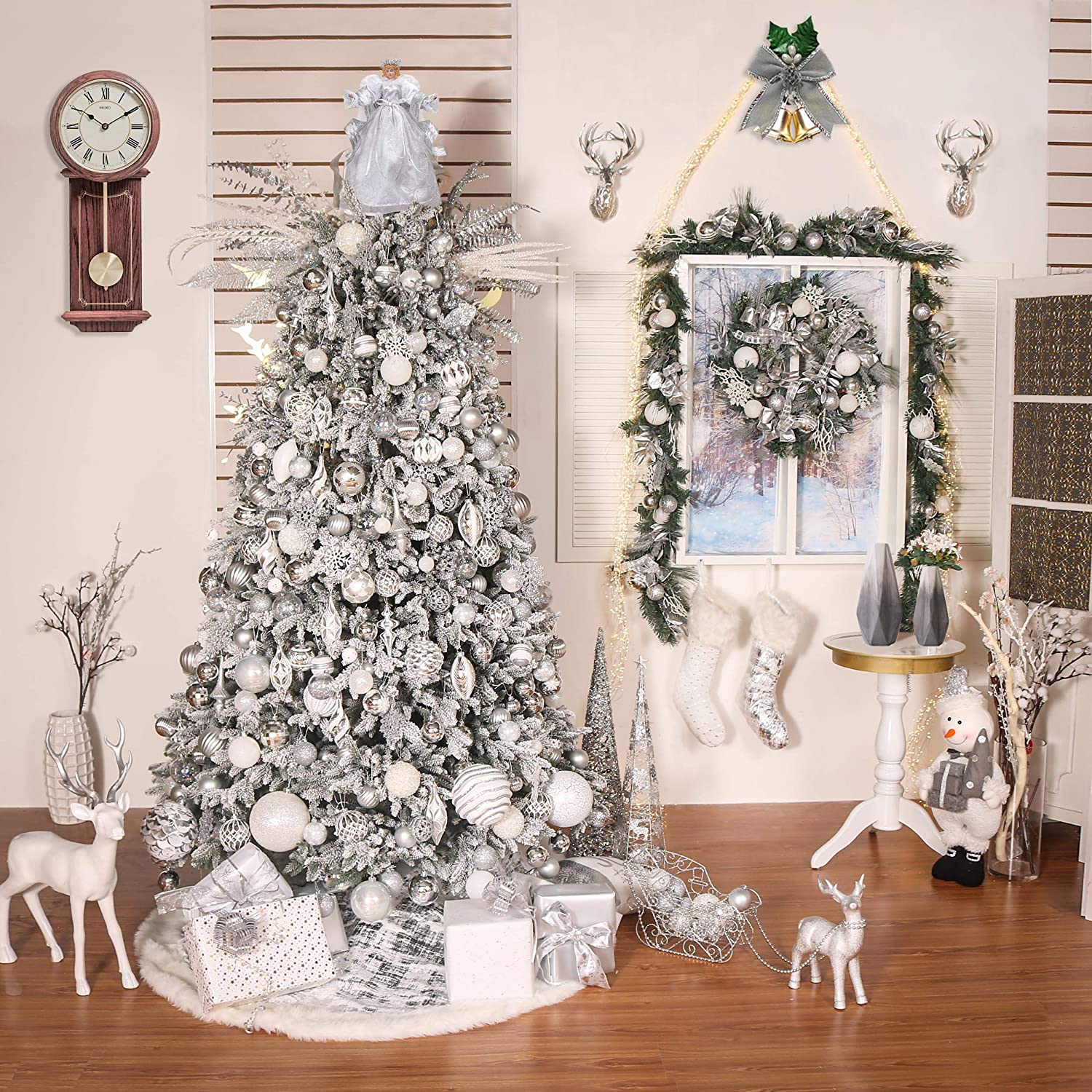 Valery Madelyn 16 Inch 10-Light Frozen Winter Silver White Ivory Christmas Tree Topper Angel Treetop Decorations Not Included Battery Operated