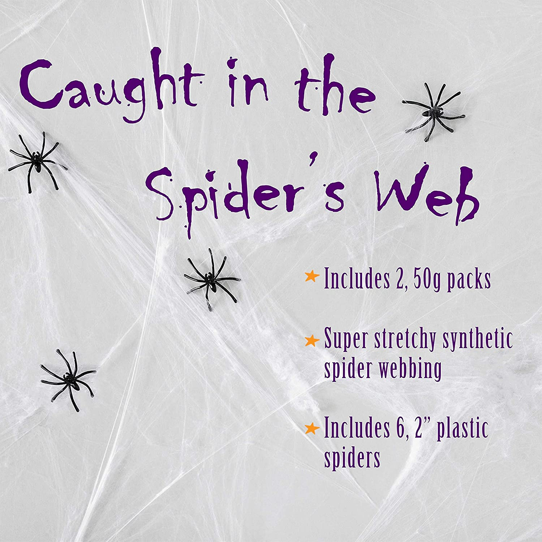 Halloween Decoration Spider Web 4 Spiders White Stretchable Cobweb Fancy Dress