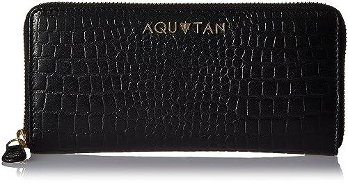 Aquatan Women's Jetsetter Zip Around Croco Leather Wallet Black AT-W-56