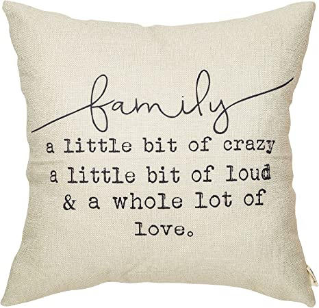 Fjfz Family A Little Bit Of Crazy A Little Bit Of Loud And A Whole Lot Of Love Rustic Decoration Farmhouse Décor Cotton Linen Home Decorative Throw Pillow Case Cushion Cover