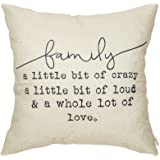 Fjfz Family a Little Bit of Crazy a Little Bit of Loud and a Whole lot of Love Rustic Decoration Farmhouse Décor Cotton…