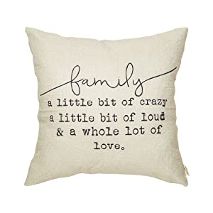"""Fjfz Family a Little Bit of Crazy a Little Bit of Loud and a Whole lot of Love Rustic Decoration Farmhouse Décor Cotton Linen Home Decorative Throw Pillow Case Cushion Cover for Sofa Couch, 18"""" x 18"""""""