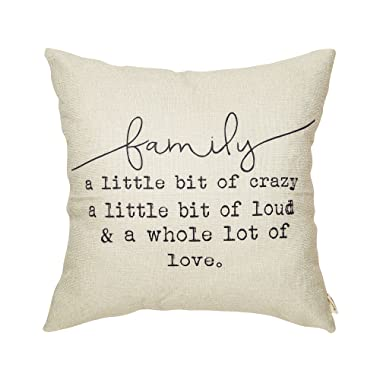 Fjfz Family a Little Bit of Crazy a Little Bit of Loud and a Whole lot of Love Rustic Decoration Farmhouse Décor Cotton Linen Home Decorative Throw Pillow Case Cushion Cover for Sofa Couch, 18  x 18