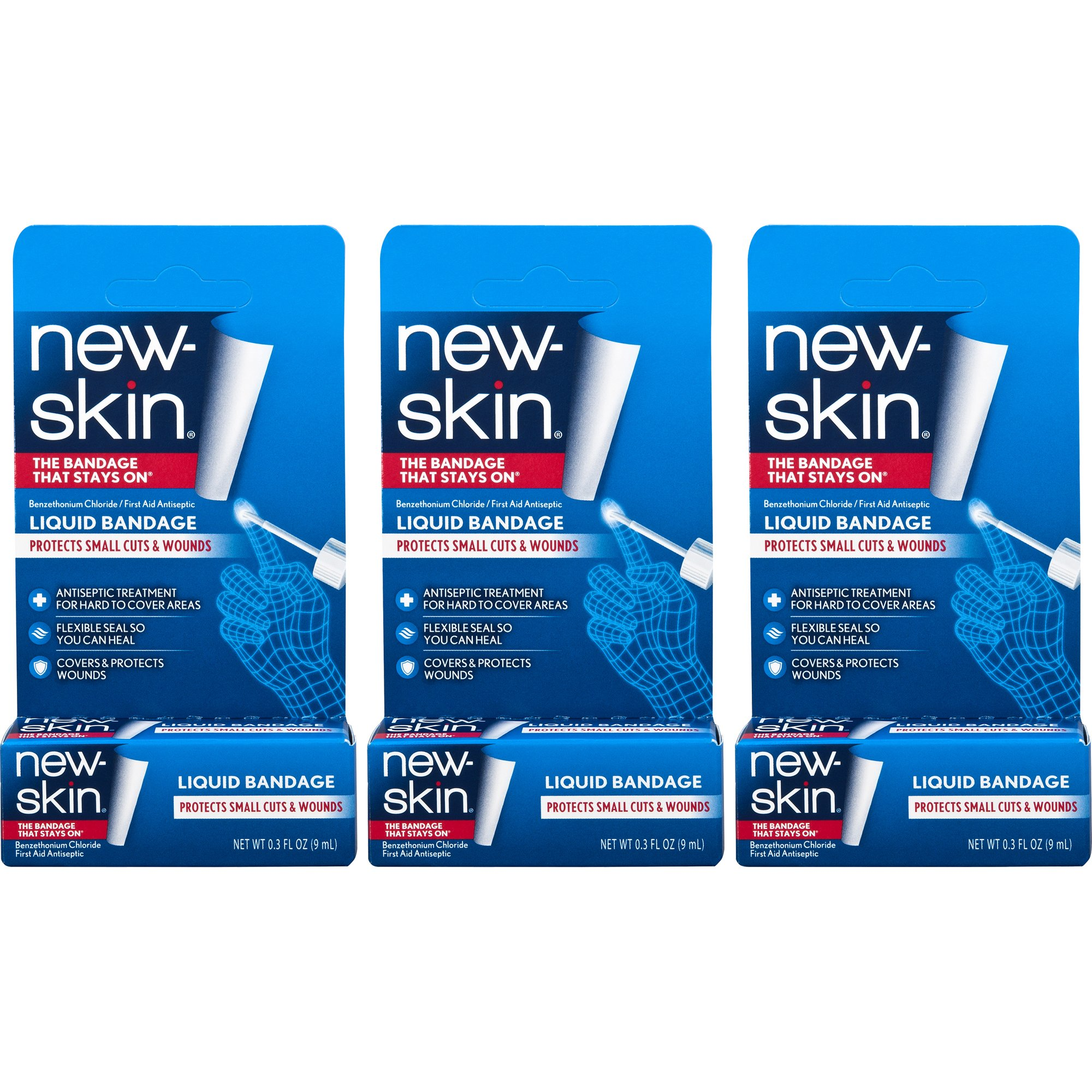 New-Skin Liquid Bandage 0.3 FL OZ, Liquid Bandage for Hard-to-Cover Cuts, Scrapes, Wounds, Calluses, and Dry, Cracked Skin, 3 Count