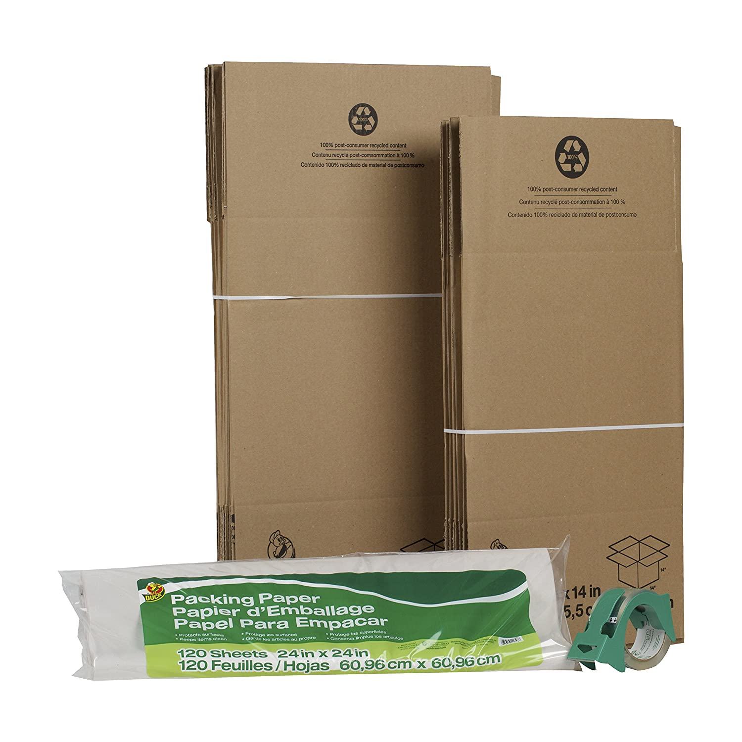 Duck Brand Moving Kit with 12 Boxes, 120 Sheets Packing Paper, 1 Roll HD Clear Packing Tape (280378) 120-Sheets Packing Paper