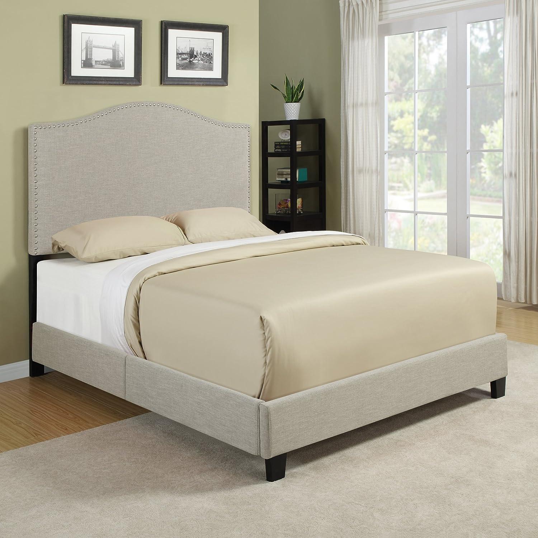 Amazon.com: Handy Living Noleta Queen Bed in Barley Tan Linen ...