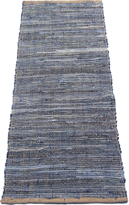 """Chardin home Denim Jute Runner Rug. Size: 24""""x60"""""""