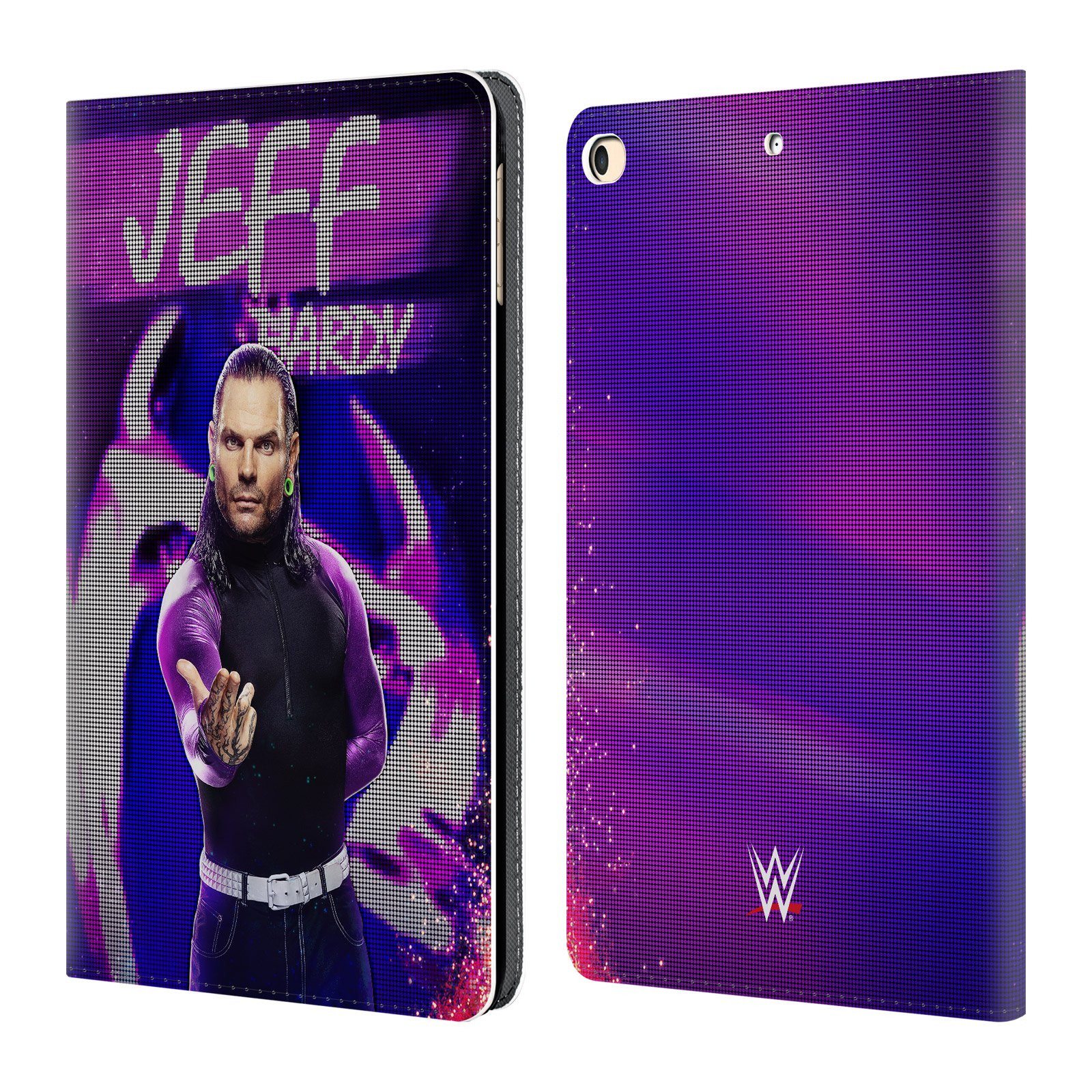 Official WWE LED Image Jeff Hardy Leather Book Wallet Case Cover for iPad 9.7 2017 / iPad 9.7 2018