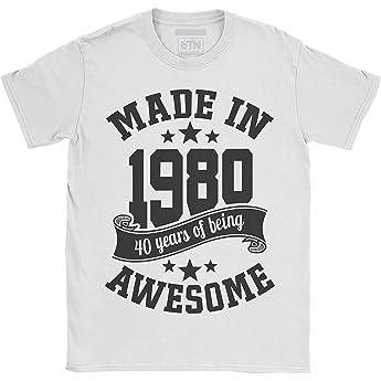 6TN Hombre Hecho en 1980 40 años de ser Impresionante Camiseta (S, Blanco): Amazon.es: Ropa y accesorios