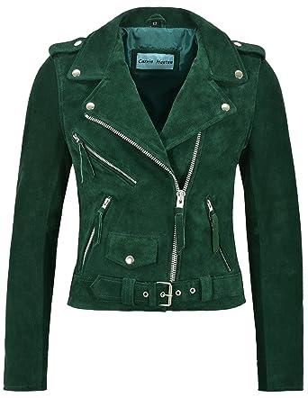 Smart Range Ladies Brando Leather Jacket Green Suede Fitted Biker