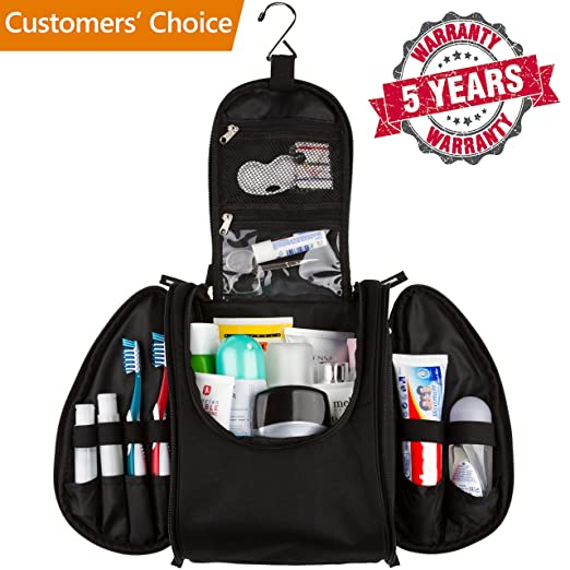 42 Travel Hanging Toiletry Bag â?? Large Kit Organizer for Men & Women â?? Spacious & Compact, 17 Compartments for all you need - Strong Zippers, Sturdy Hook, Water Resistant