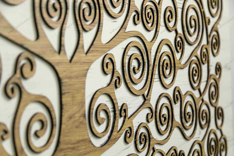 MAZZOLA LUCE Quadro Moderno Albero della Vita Klimt 120X60 Base Tessuto Legno Tek INCISO A Laser