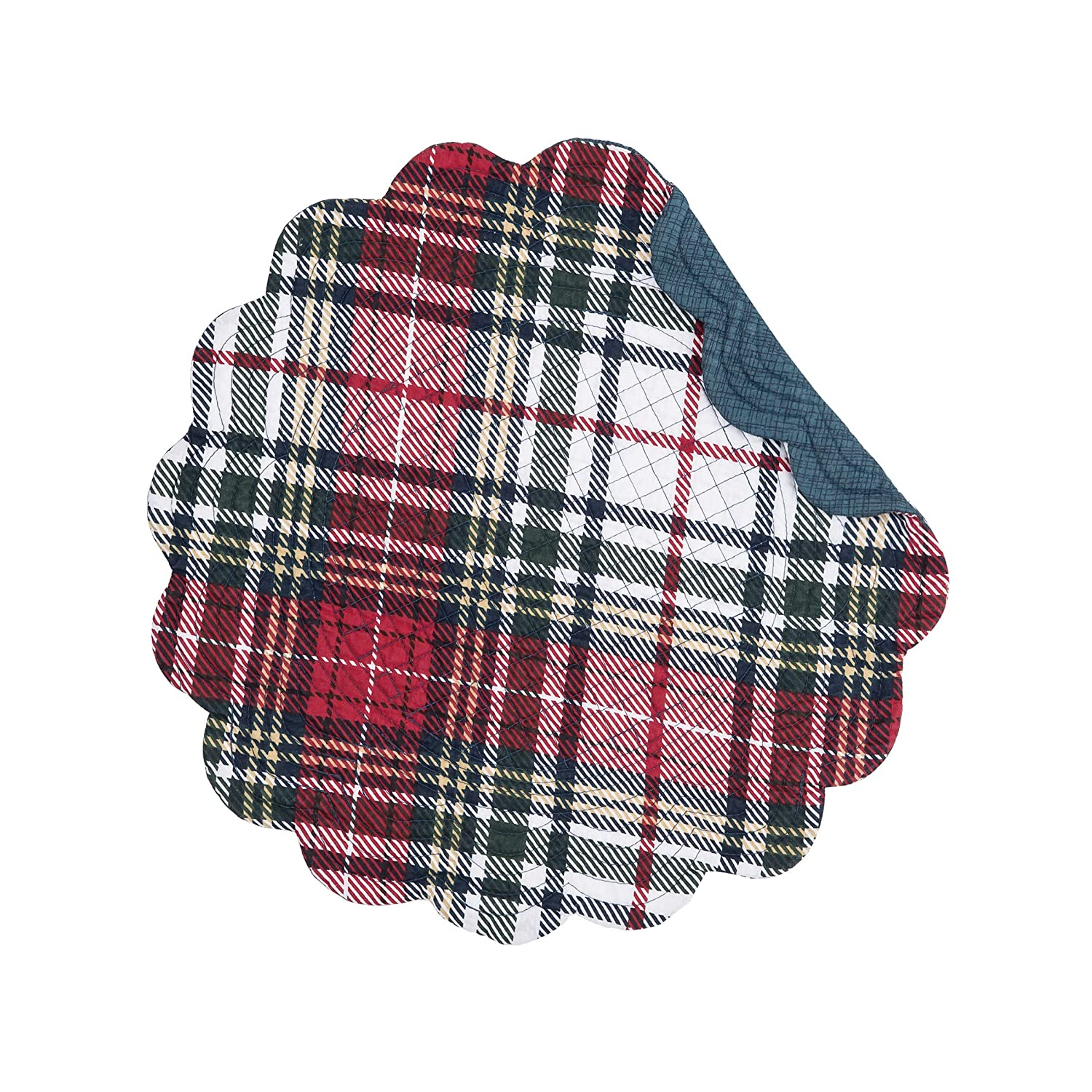 C&F Home Lennox Plaid Round Placemat Set of 6 Checkered Reversible Cotton Lodge Rustic Table Mat for Kitchen Dining Table Round Placemat Set of 6 Red
