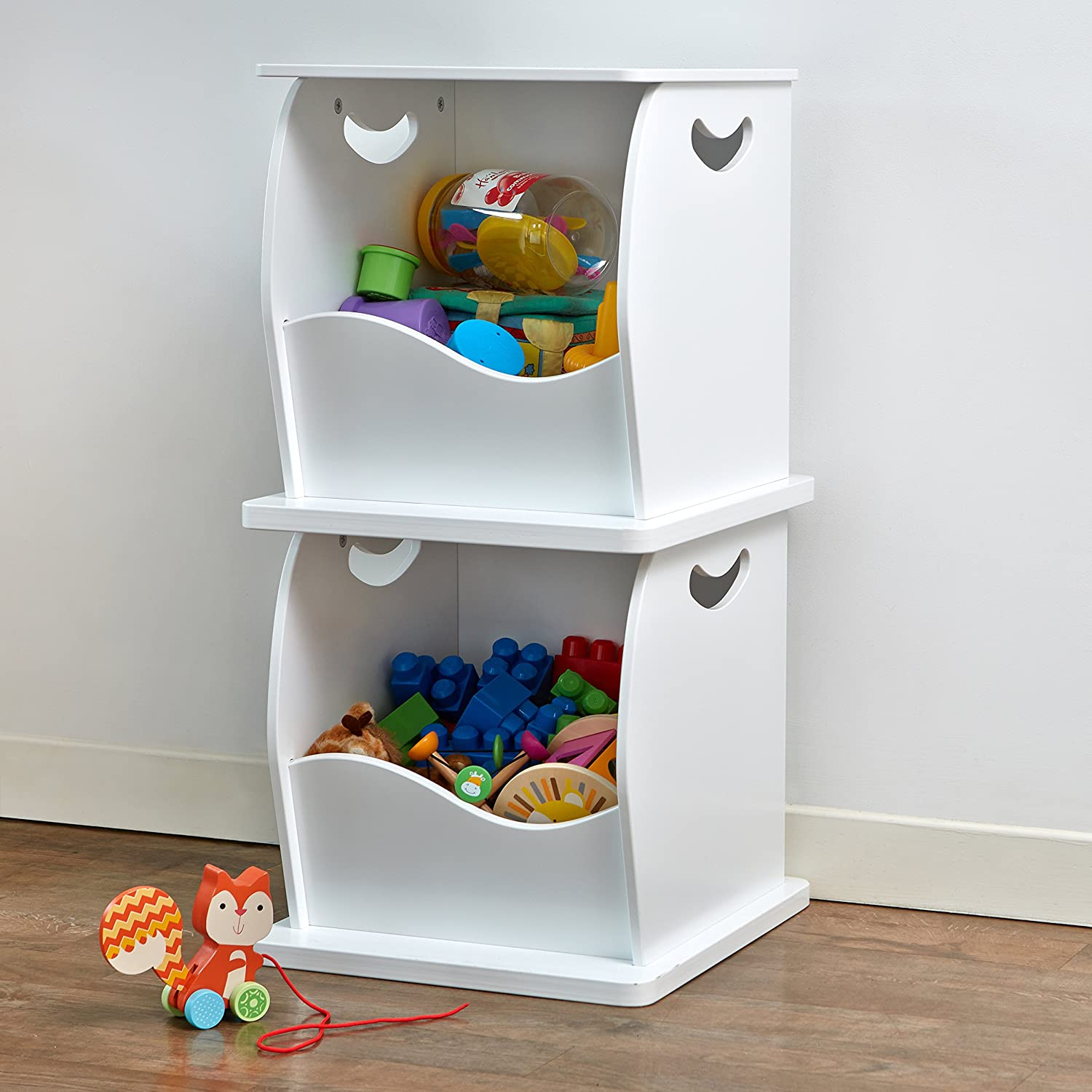 2 x Stacking Open Toy Storage Trunks Store