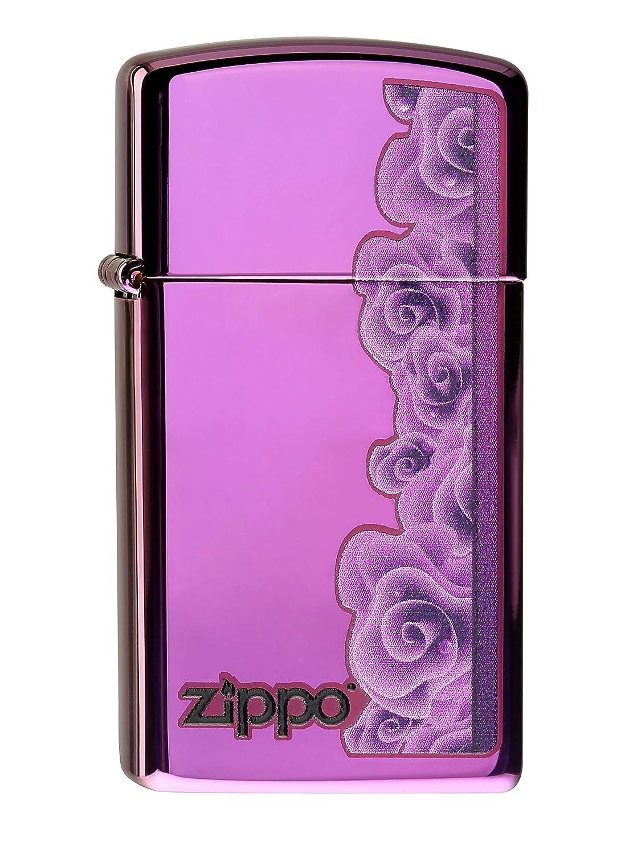 60000058 Zippo Feuerzeug Purple Roses Slim mit persönlicher Gravur