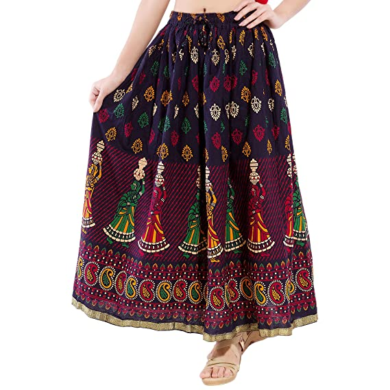 6a38527ebcb DISHA Cotton multi colur printed Straigh long Skirt for women (size   length- 39