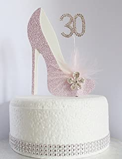 30th Pink And White Birthday Cake Decoration Shoe With Feathers Crystal Flower Embellishments Diamante