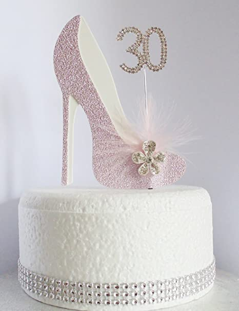 30th Pink And White Birthday Cake Decoration Shoe With Feathers Crystal Flower Embellishments Diamante Number Non Edible Feather 30
