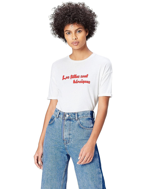 TALLA 36 (Talla del fabricante: X-Small). find. Camiseta con Mensaje con Cuello Redondo Mujer
