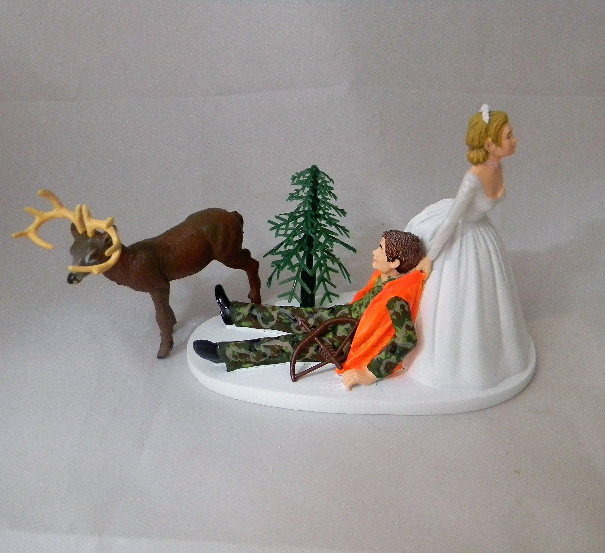 Wedding Reception Bow Arrow Camo Deer Hunter Hunting Cake Topper