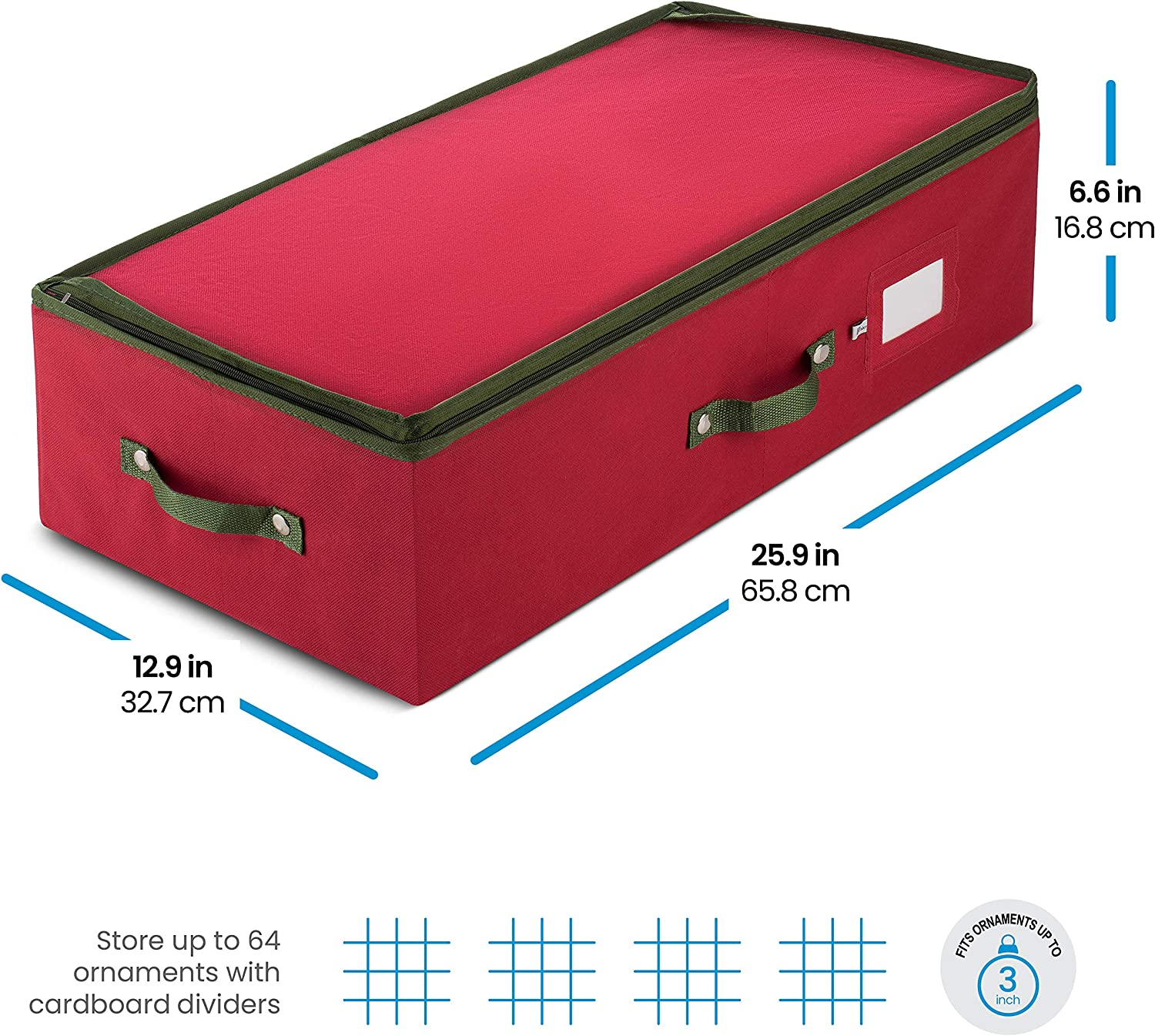 ZOBER Underbed Christmas Ornament Storage Box Zippered Closure Stores up to 64 of The 3-inch Standard Christmas Ornaments and Xmas Holiday Accessories Storage Container with Dividers /& Two Handles