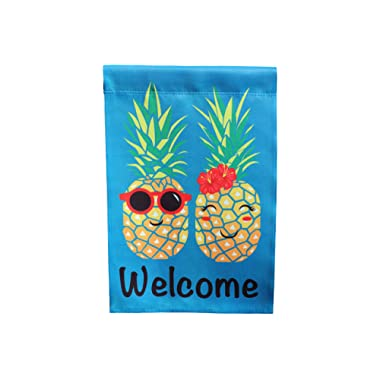 Lantern Hill Premium Garden Flag Decoration; 12  x 18 ; Double Sided Reads Correctly Both Sides (Pineapple Couple Welcome)