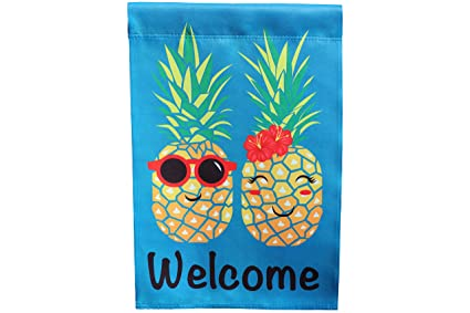 Pineapple Couple Welcome Garden Flag; 12 Inches By 18 Inches; Double Sided  Reads Correctly