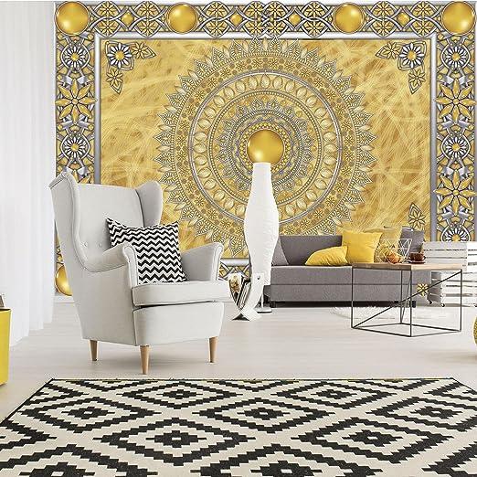 Oro Fieltro dise/ño mandala dorado Papel pintado V4 DekoShop AMD10373/_VEN amarillo 254cm. x 184cm.