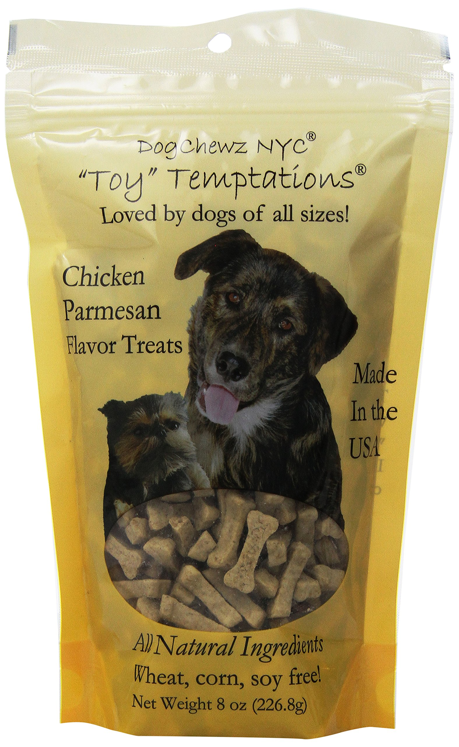 DogChewz NYC Toy Temptations All Natural Dog Treats, 8-Ounce, Chicken Parmesan